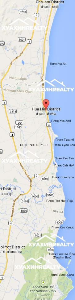 Пляжи Хуа Хина Карта