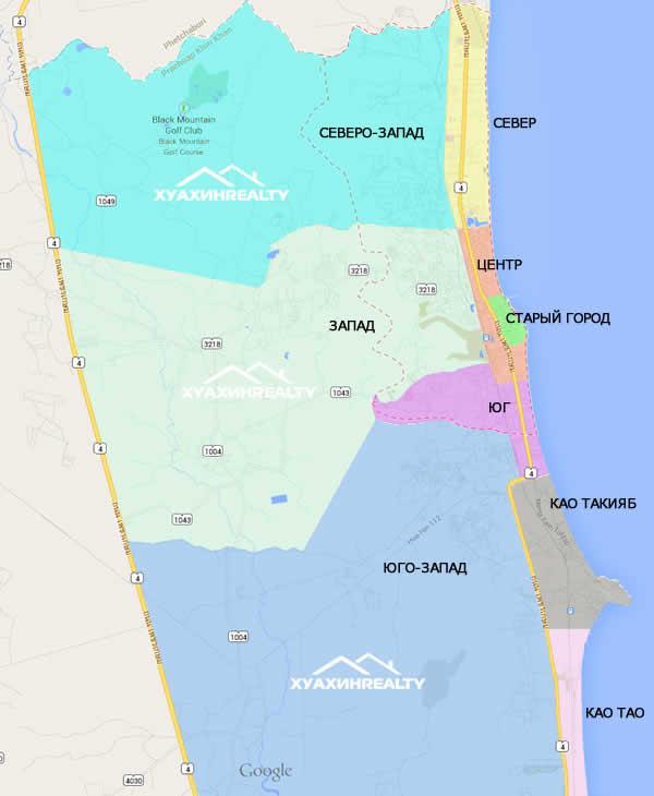 Карта районов Хуа Хина