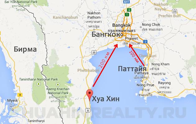 Хуа Хин на карте Таиланда, Хуахин на карте Тайланда